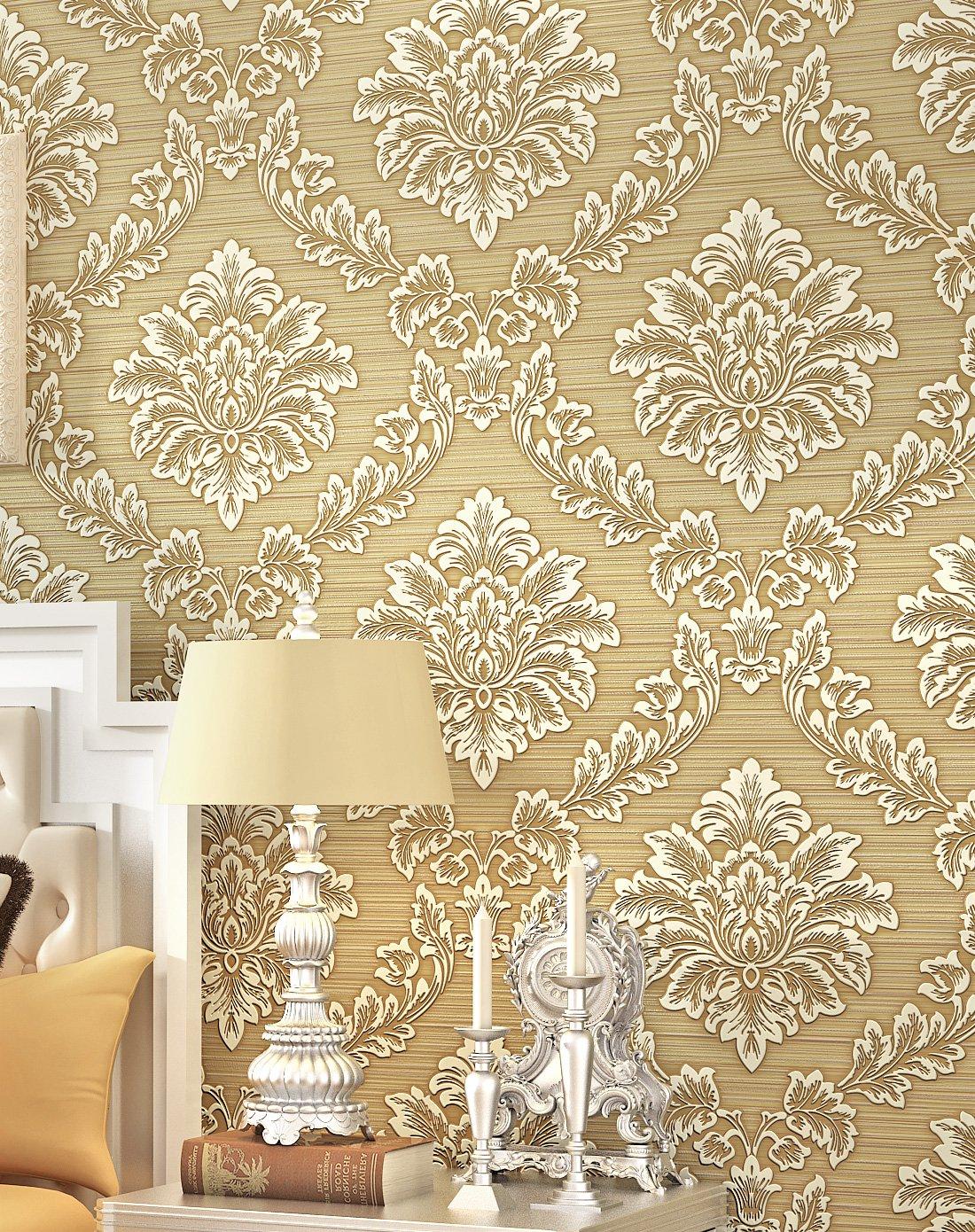 米黄色3d立体植绒客厅卧室欧式无纺布墙纸