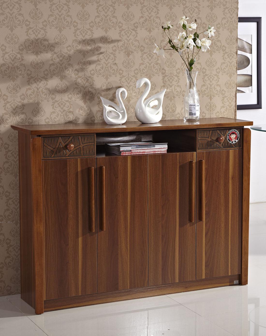 homes家具中式木纹四门大容量鞋柜xhd