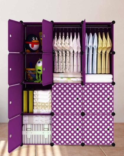 魔片组合衣柜大号紫色圆点