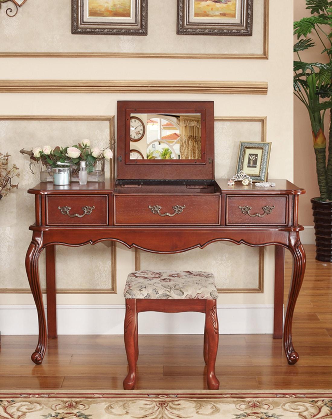 美式实木梳妆台/书桌