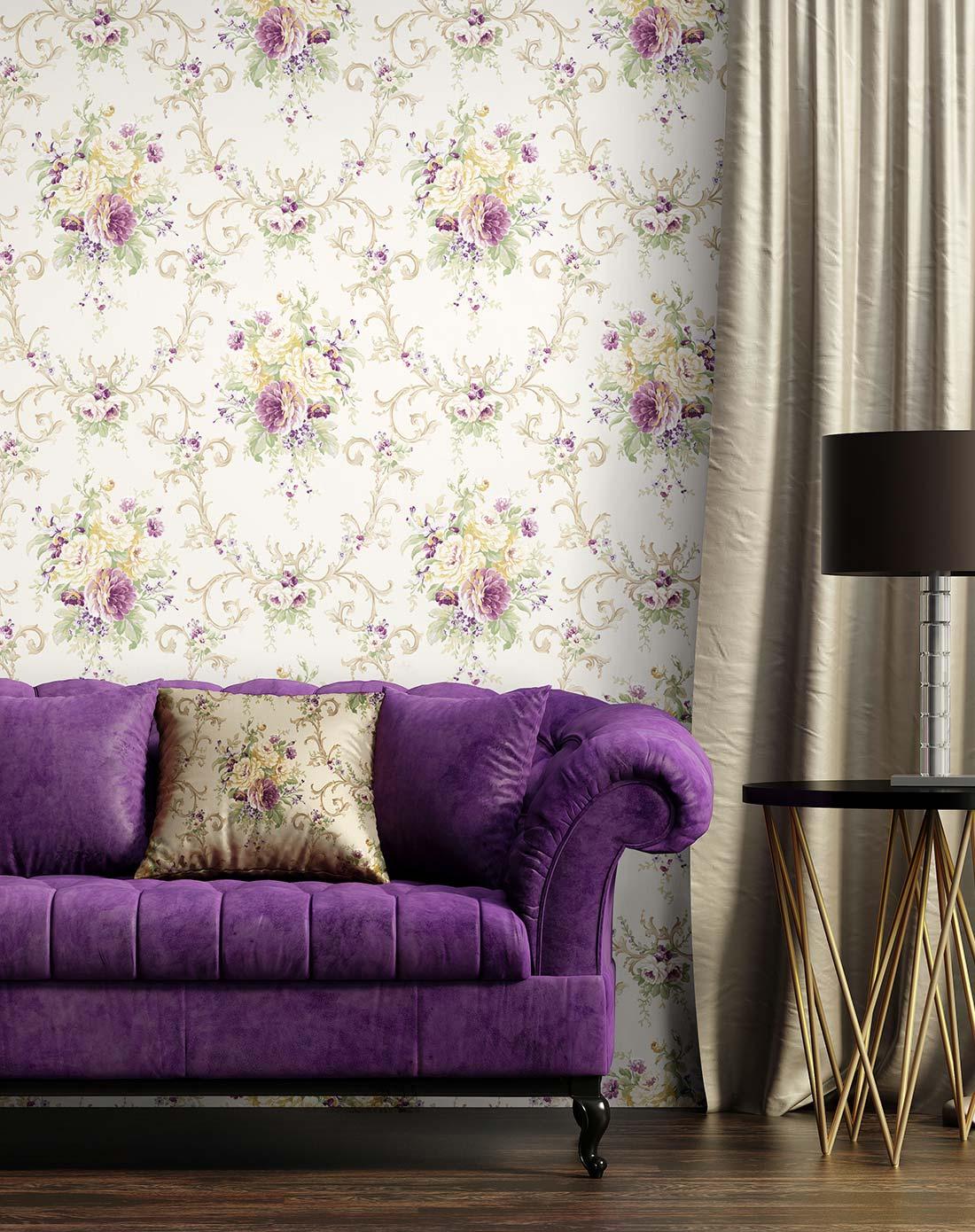 紫色大花美式风格复古纯纸墙纸图片