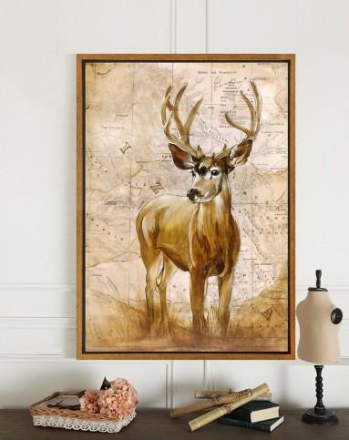 美式乡村复古装饰画 逐鹿生财 发财鹿