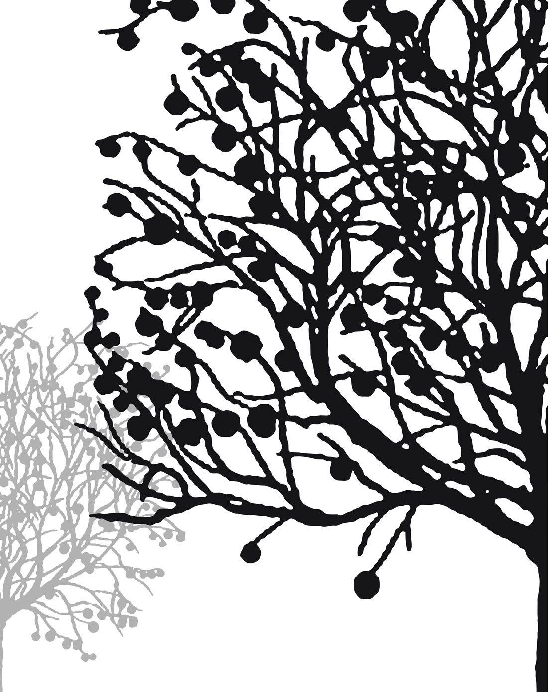 术简约黑白装饰画 幸运树