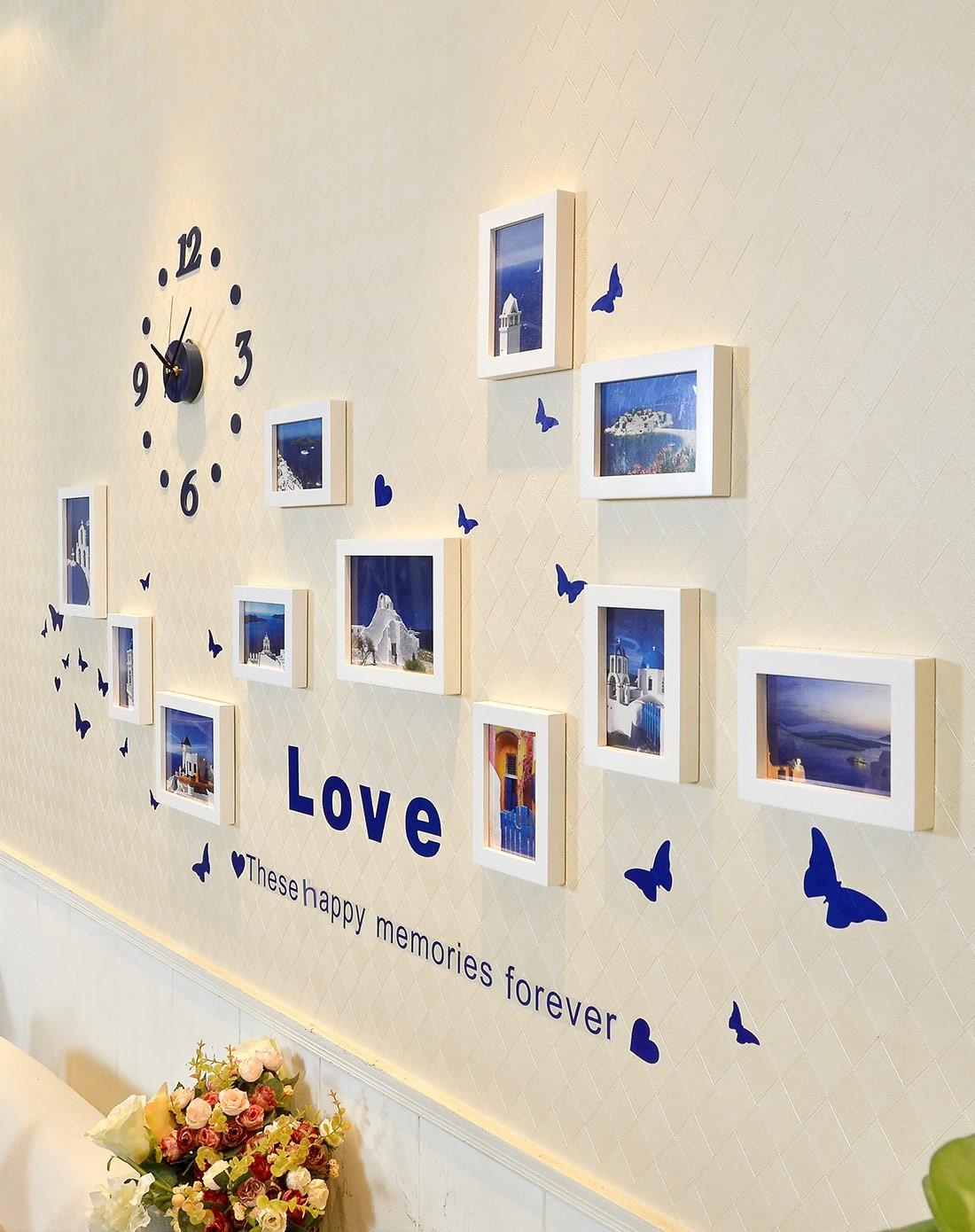11框地中海风格钟表照片墙白色组合