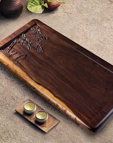 竹林茶隐黑檀整木雕刻茶盘