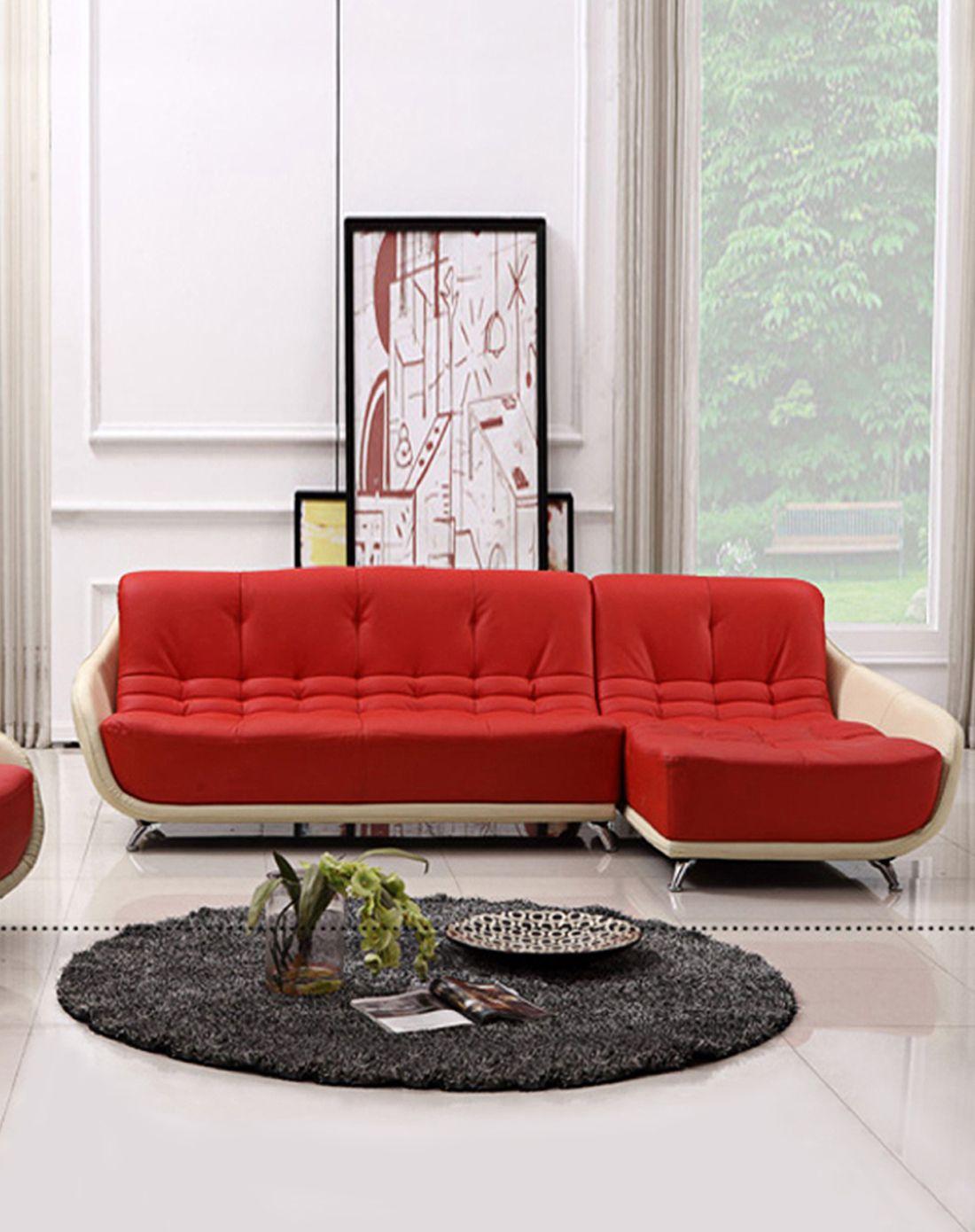 客厅沙发 双 贵妃左贵妃 上橘红色下白色 特价限量款