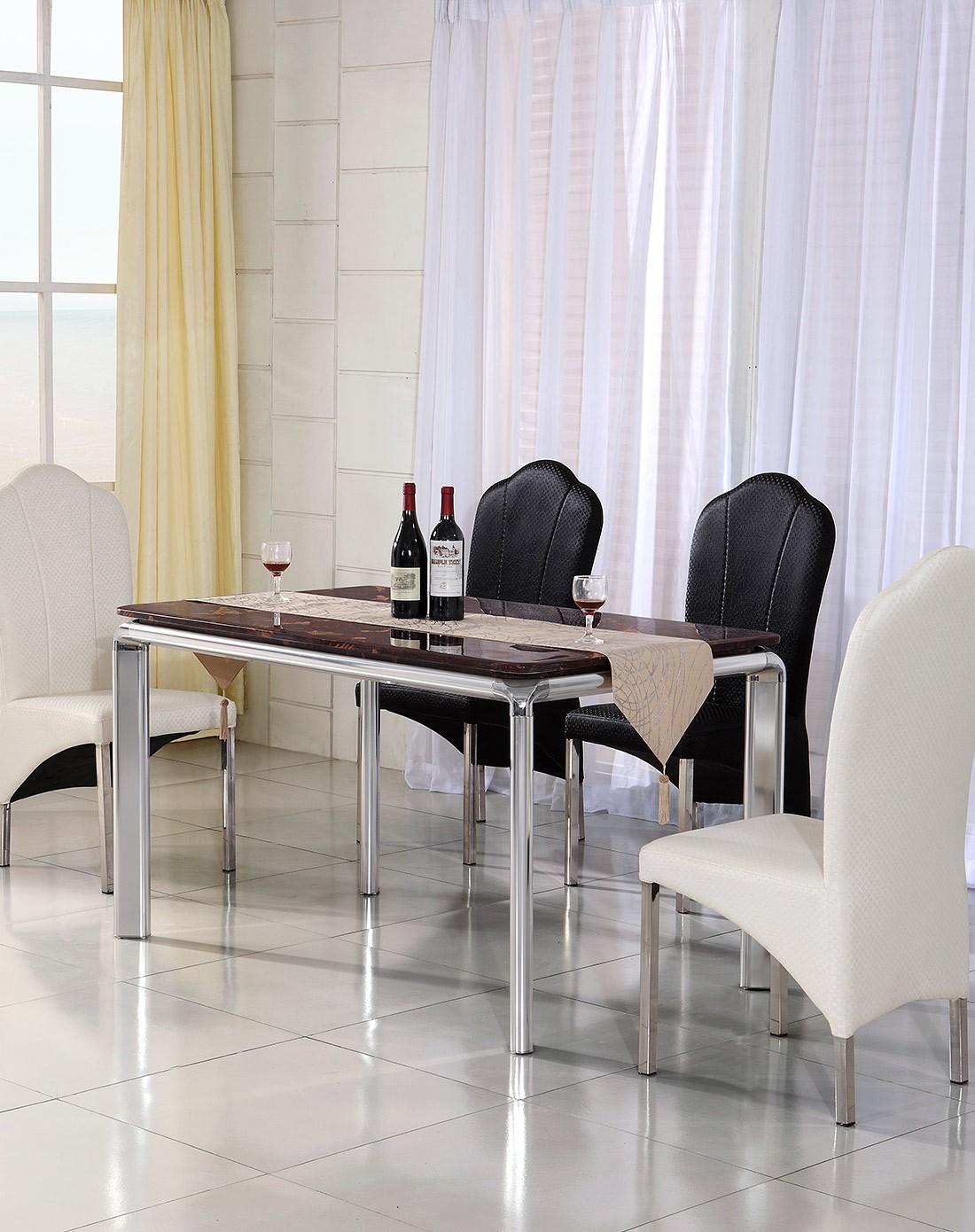dreasylife家具专场现代简约创意不锈钢餐桌椅组合dl