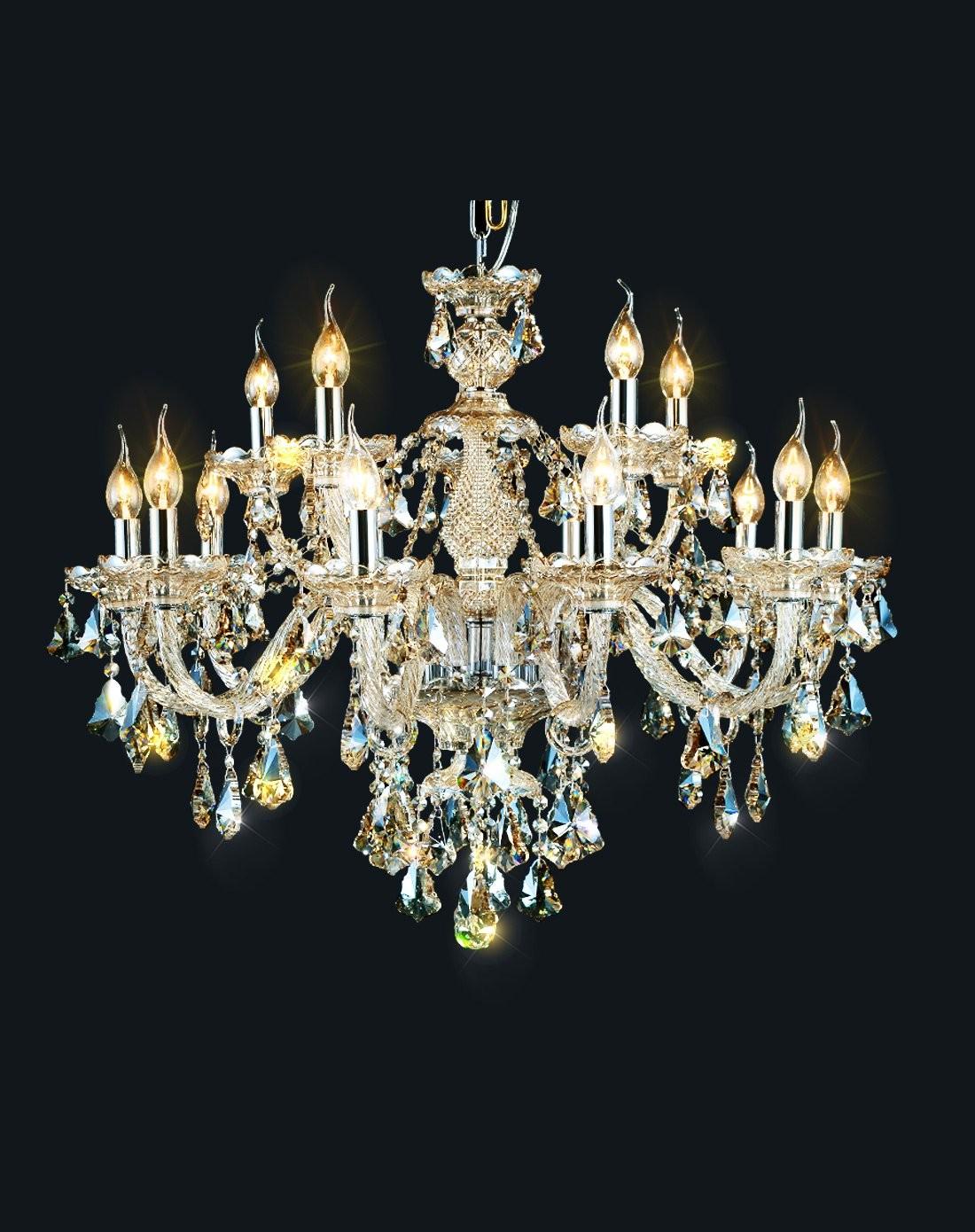 欧式蜡烛15头水晶吊灯 简欧灯饰