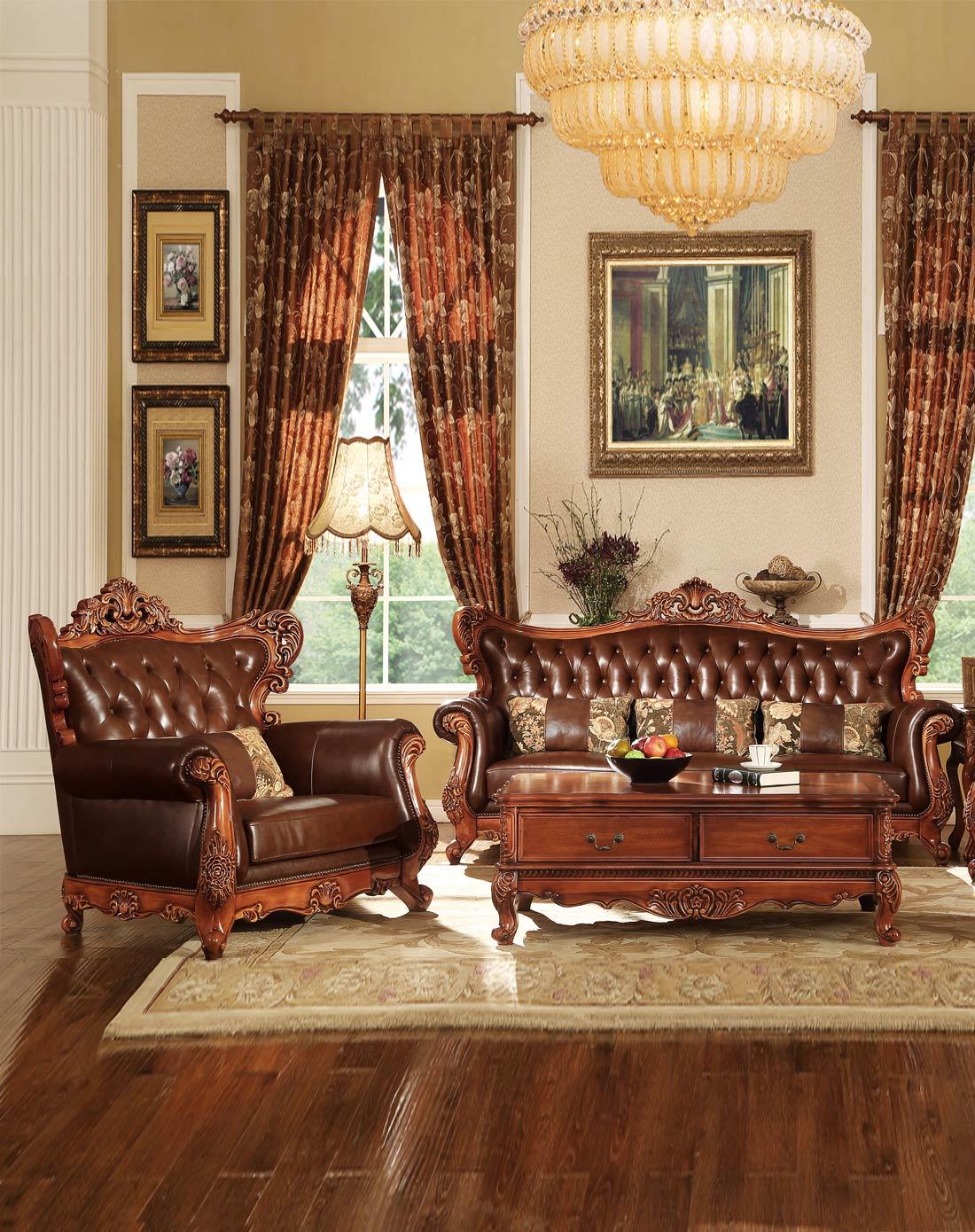 美式全实木雕花真皮沙发组合