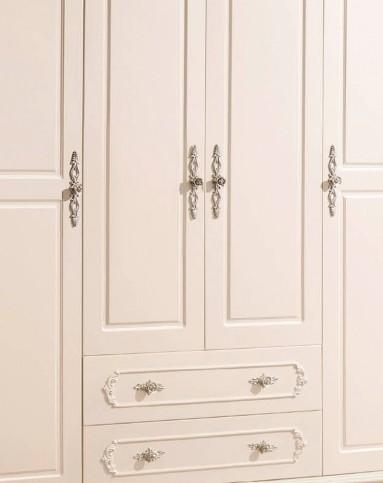 欧式衣柜组合 白色四门带抽屉