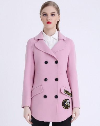 减龄粉色时尚手工全羊毛双面呢大衣