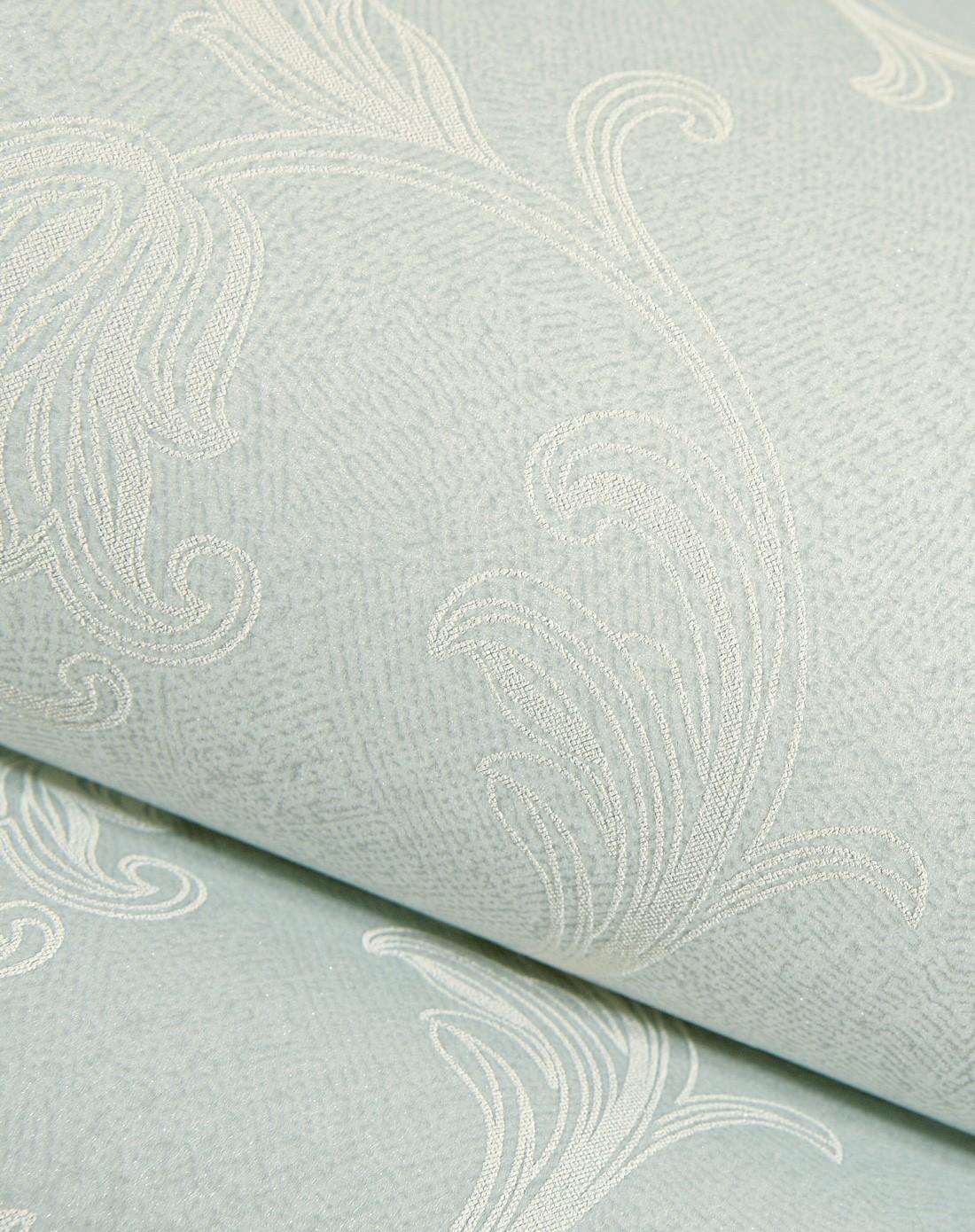 浅绿色欧式简约茛苕叶高档无纺布墙纸
