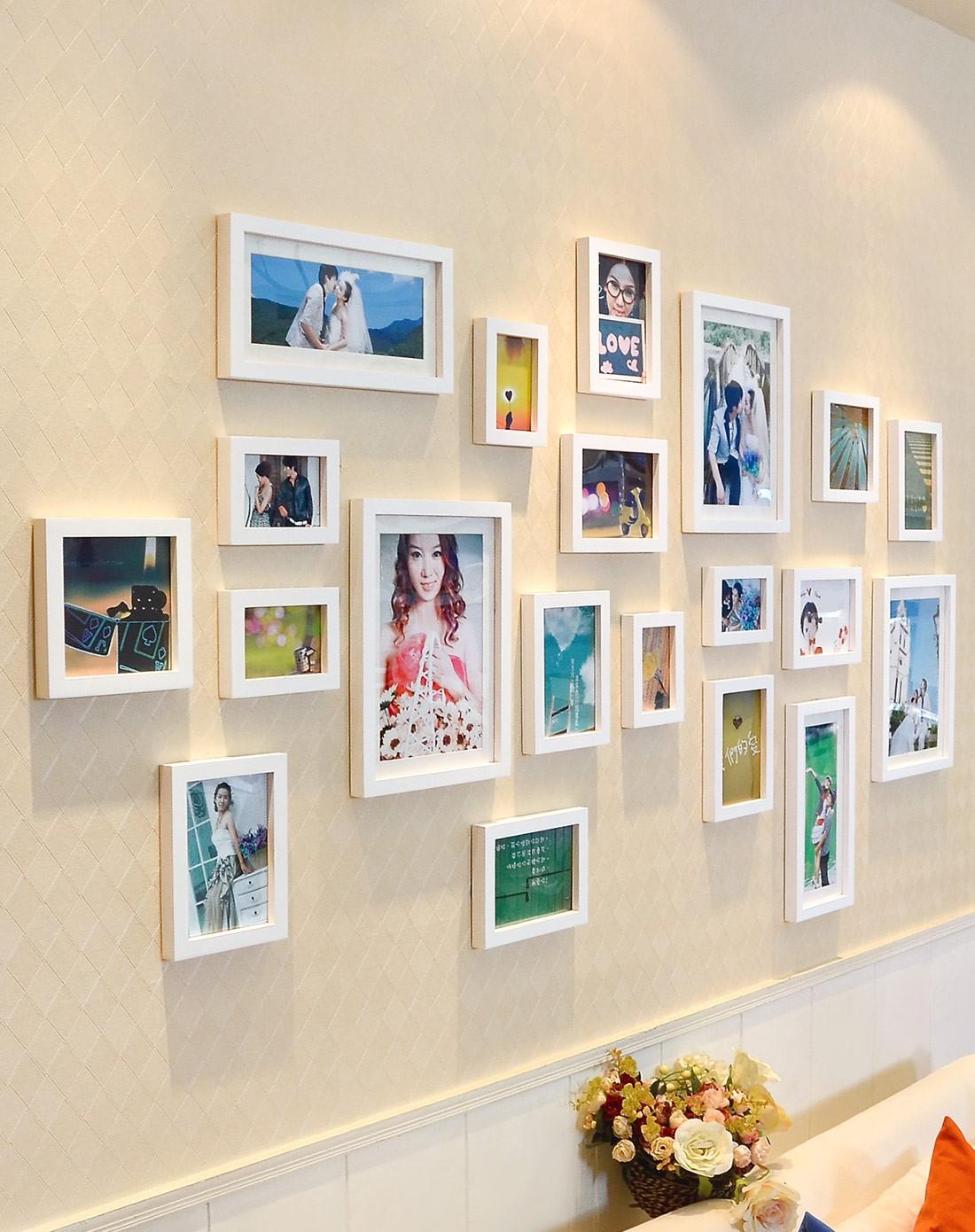 20框结婚照的照片墙白色组合