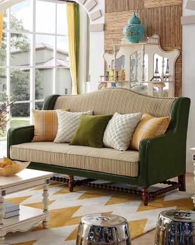 [现代简美]简美实木真皮布艺沙发2+3组合