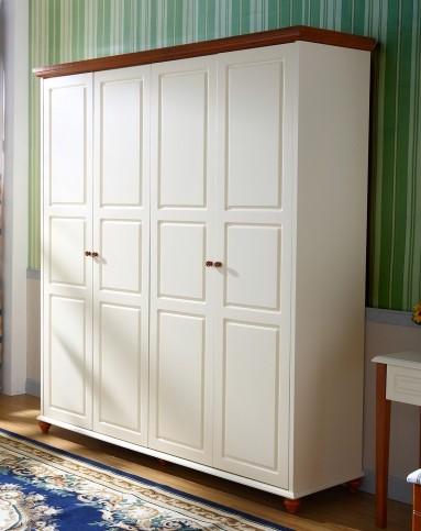 巨宝家具专场美式乡村风格珍珠白实木四门衣柜