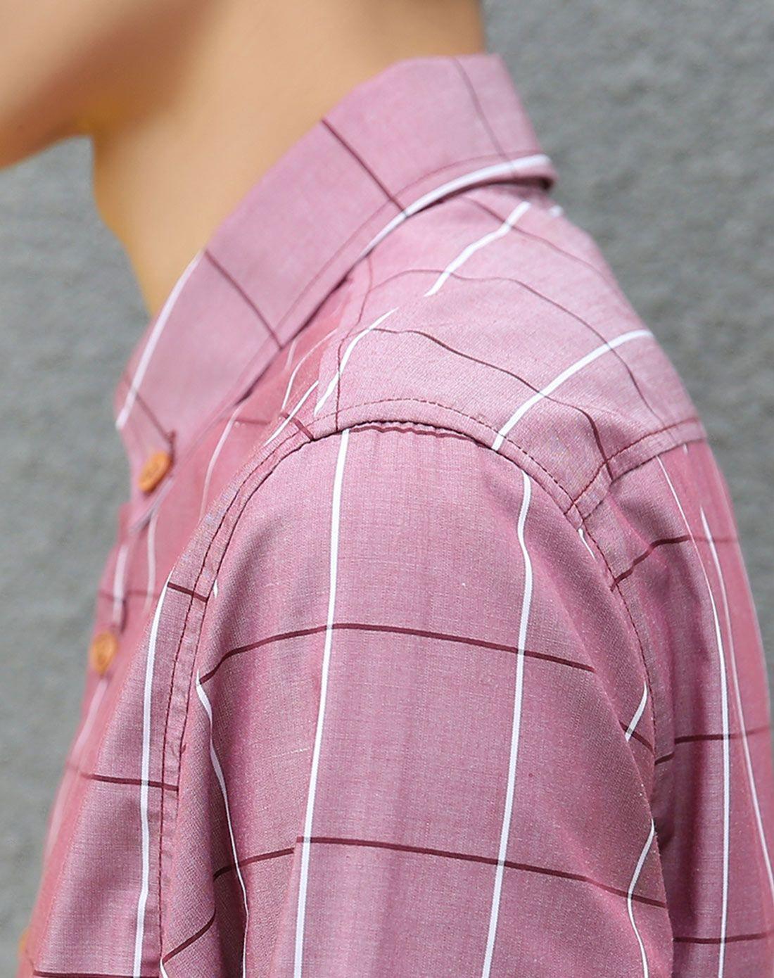 凡兔ONE-T男红色格子图案时尚休闲衬衫CK-3