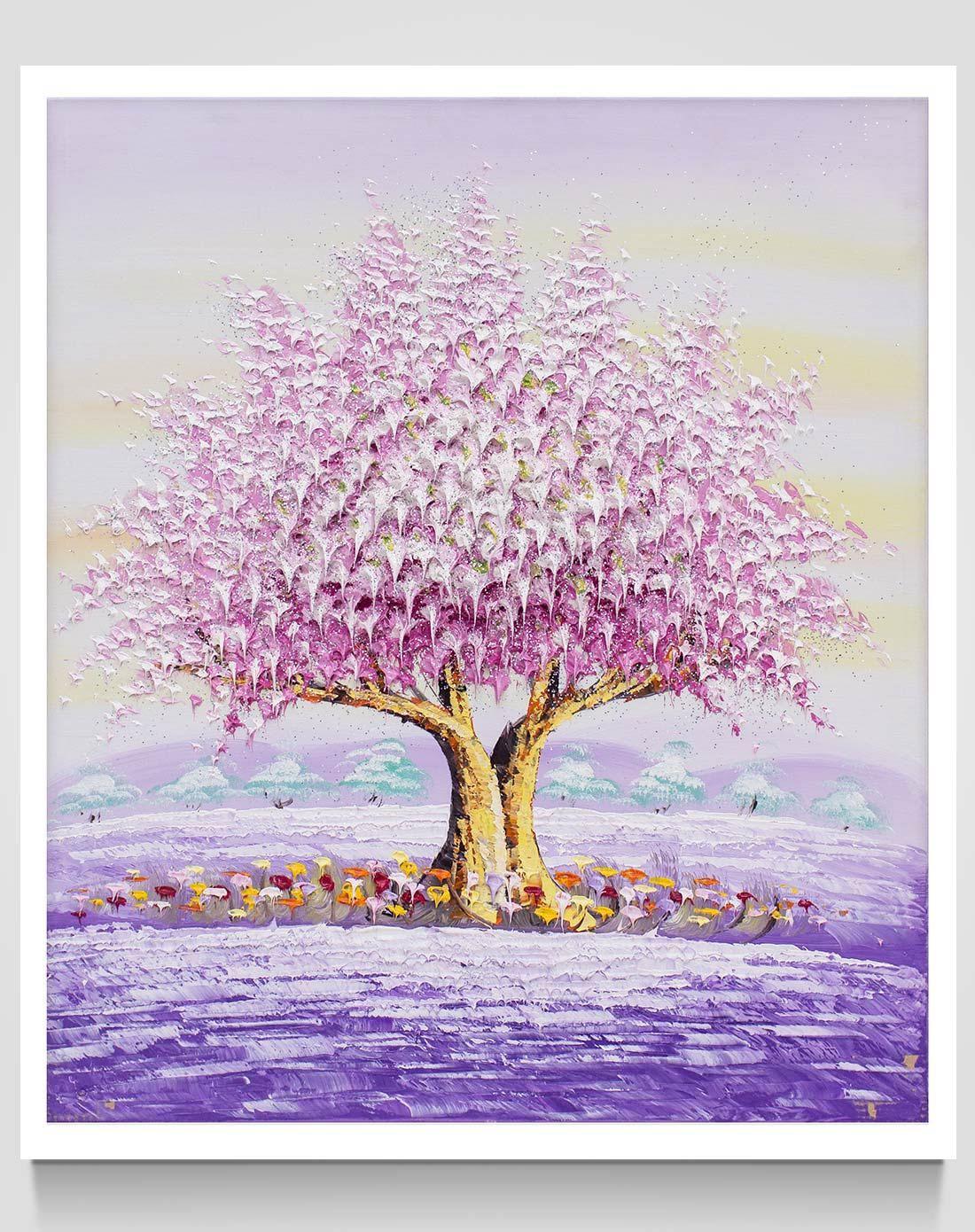 典雅纯手绘风景油画 幸福树