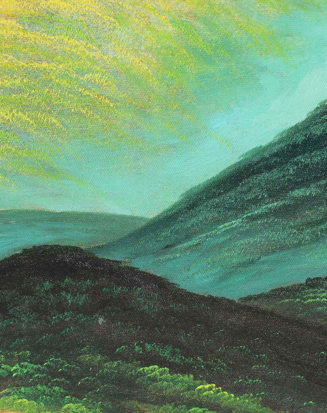 纯手绘高端油画 大卫巨人山 背有靠山
