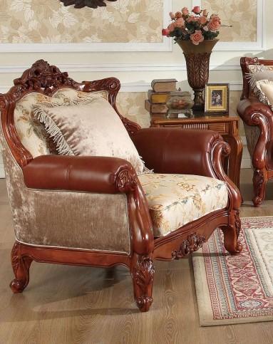 美式实木雕花布艺沙发 单人位
