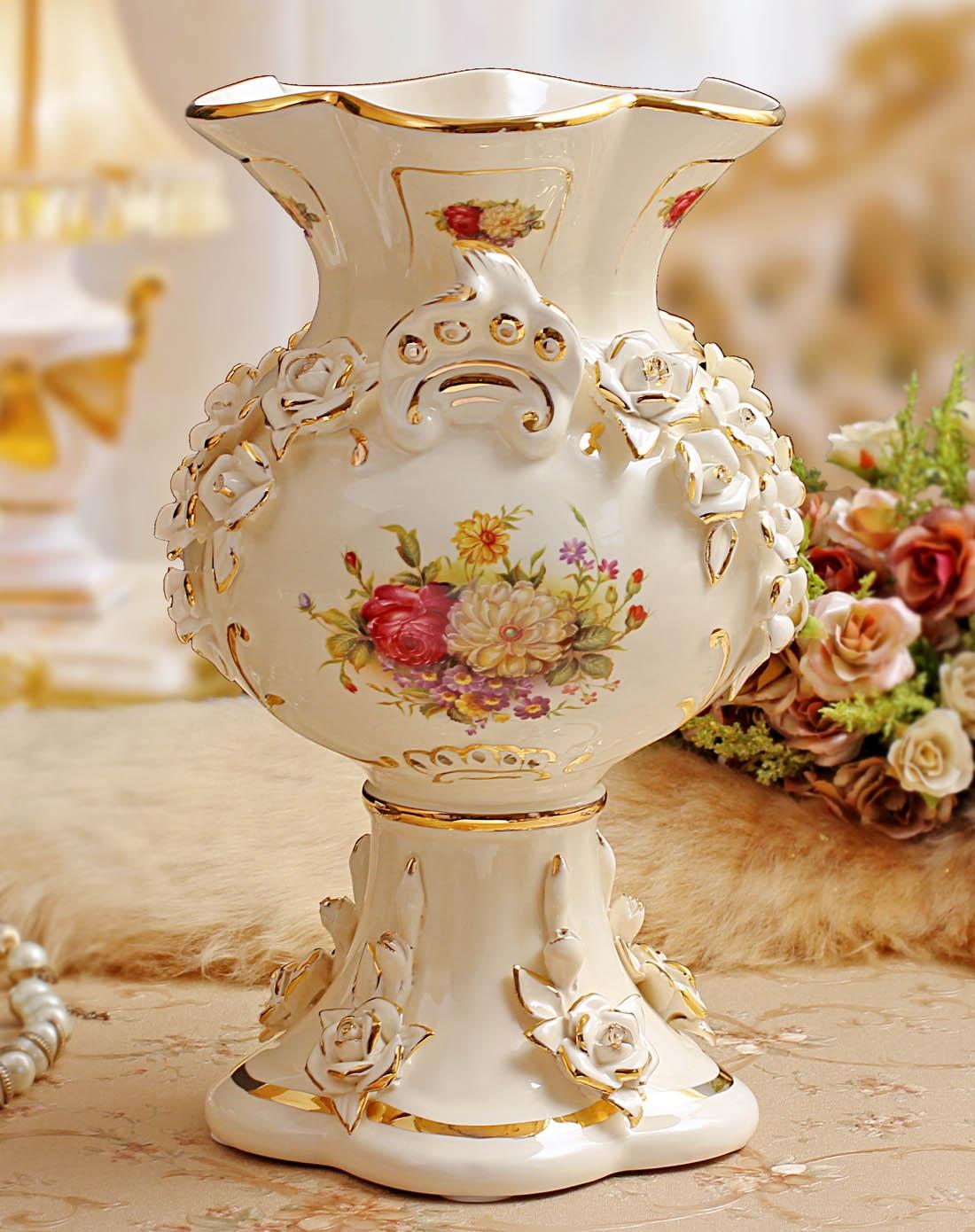 欧式陶瓷手工雕花花瓶-大号