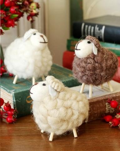 3件套 手工制作羊毛毡可爱绵羊羊摆件