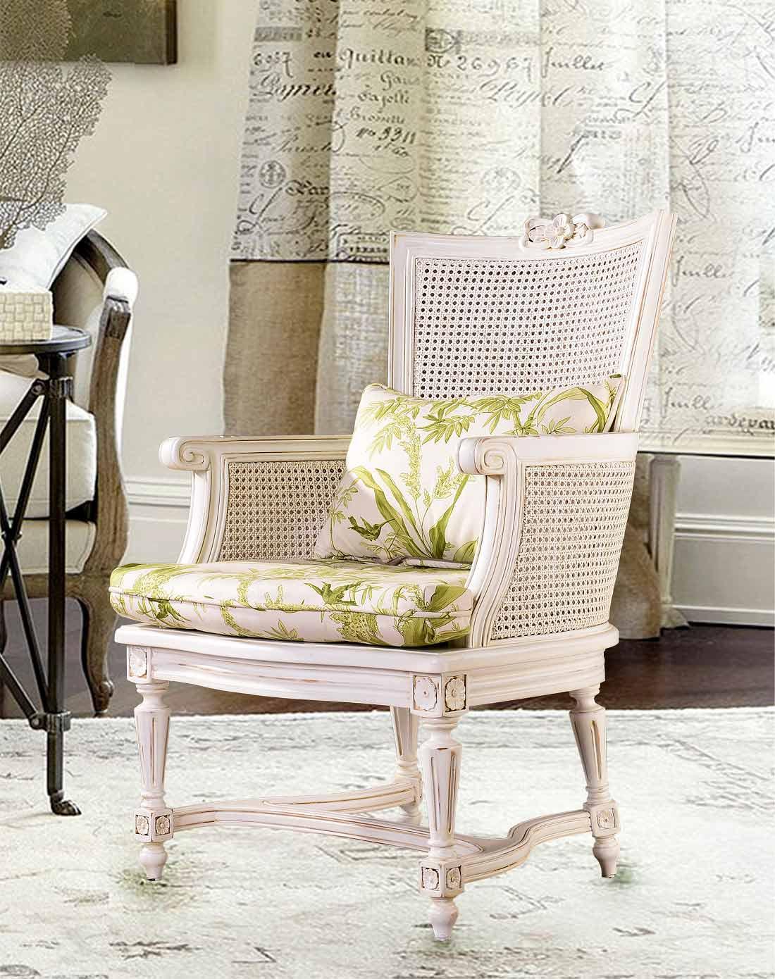 法式新古典欧洲进口白榉木家具 浅绿色花纹布艺单人沙发椅书椅