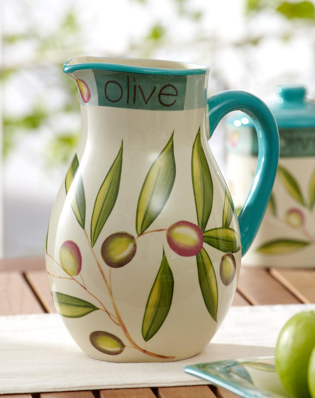 美式橄榄系列陶瓷手绘花瓶2400ml