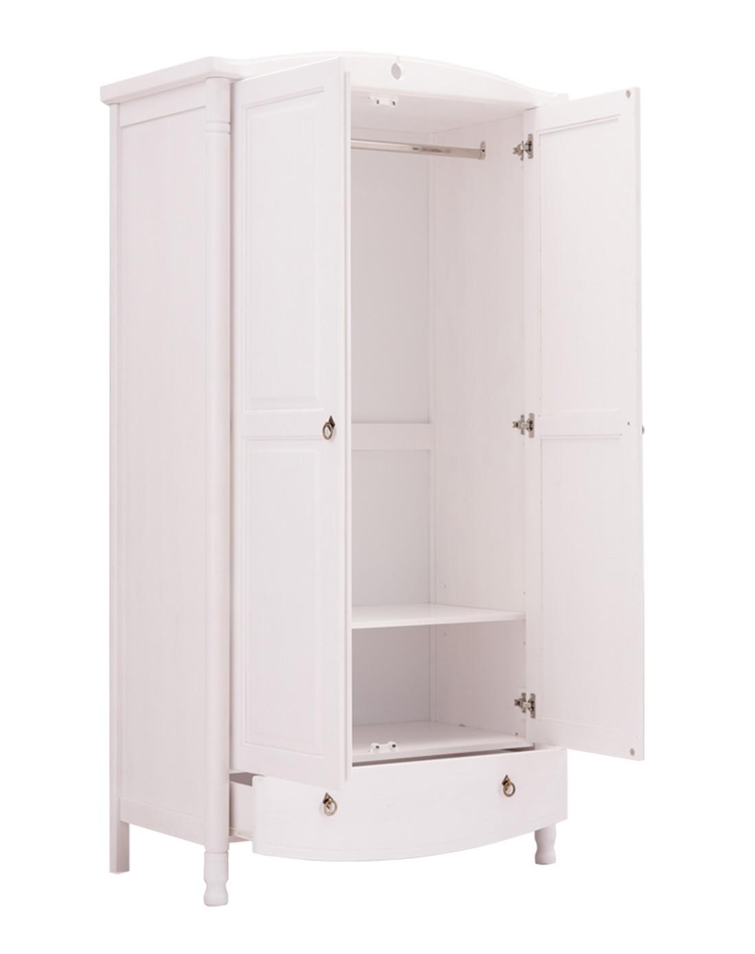 欧式双门单抽屉实木衣柜白色