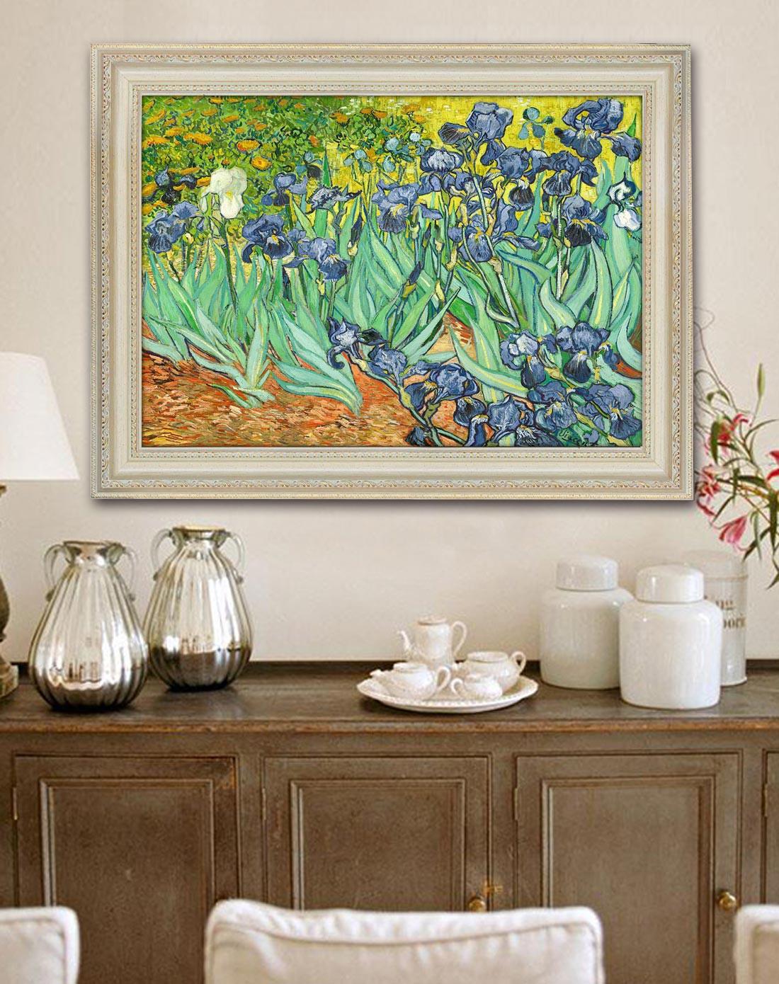 柠檬树家居装饰专场奢华装饰画世界名画 梵高鸢尾花