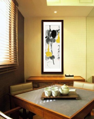 柠檬树家居装饰专场竖版长幅装饰画 齐白石福禄双全 w