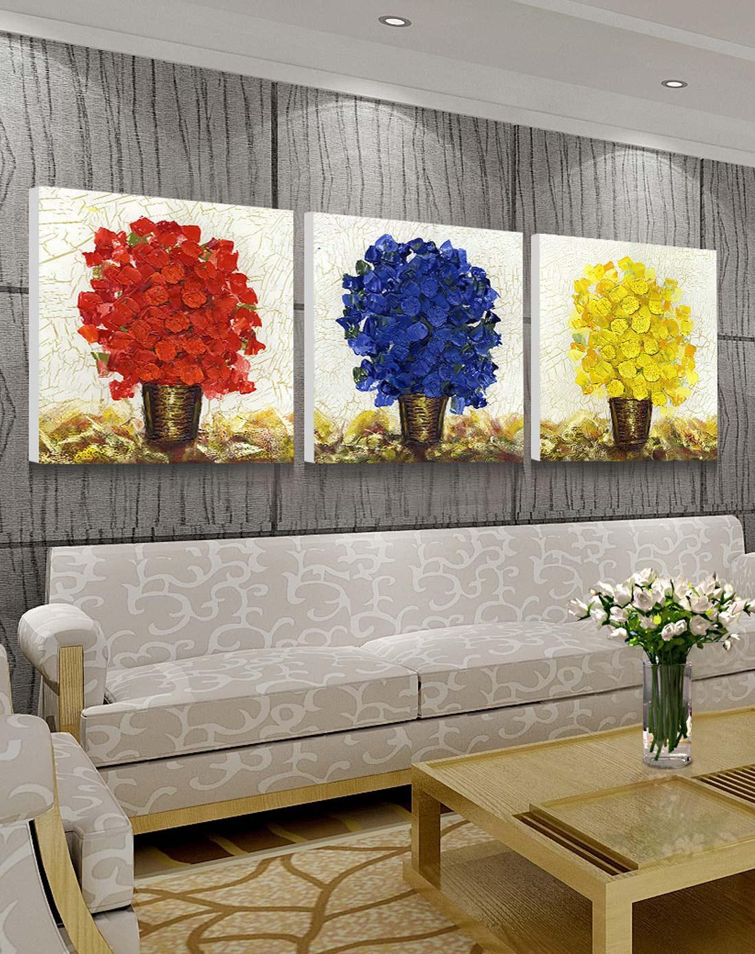 柠檬树家居装饰专场高档百搭装饰画三联组合 幸福树wp