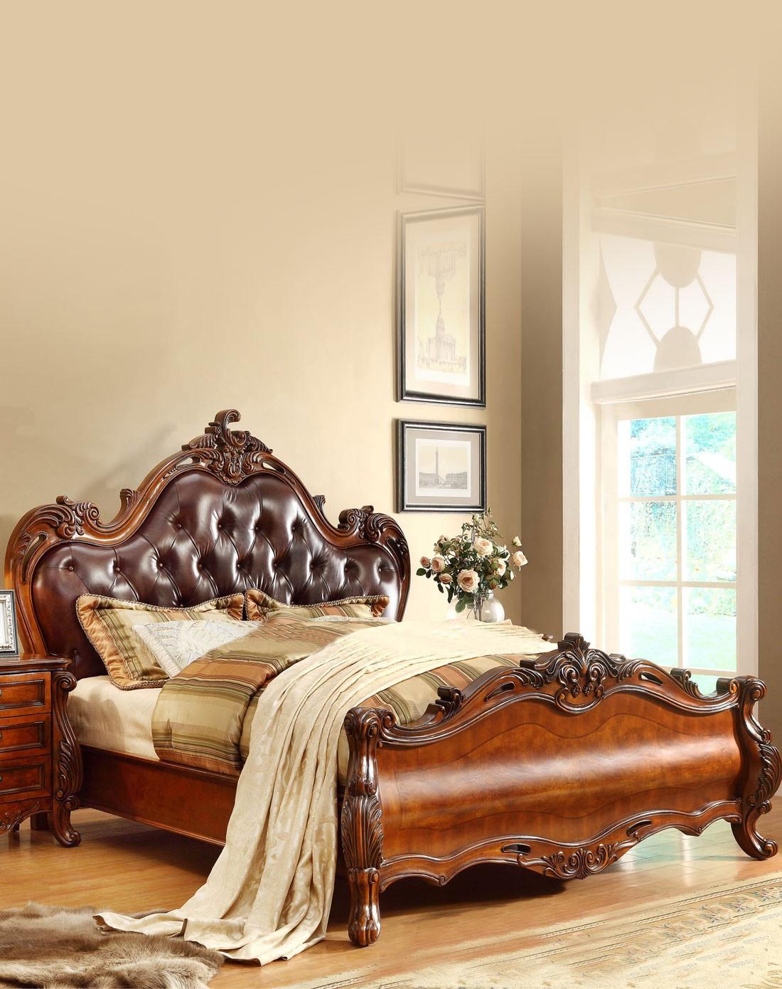 美式实木雕花真皮床 1.5m