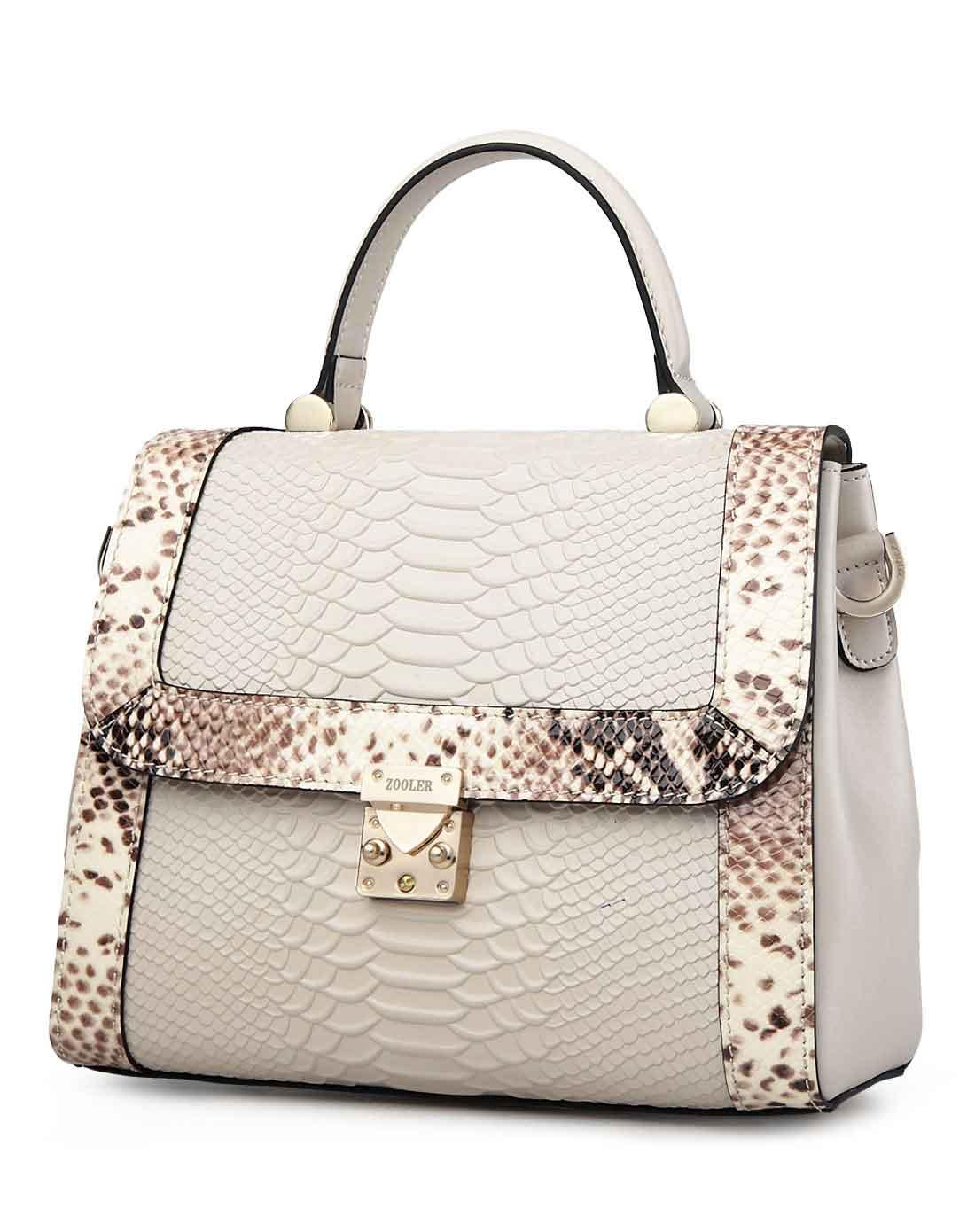 女款米白色蛇纹新款欧美时尚手提包