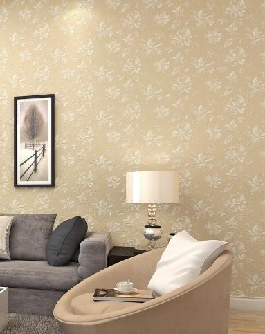 米黄色璀璨纱线欧式经典花色满铺墙纸