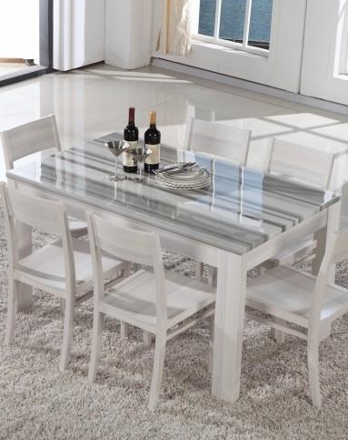 白橡木纹大理石纹理餐桌椅一桌四椅