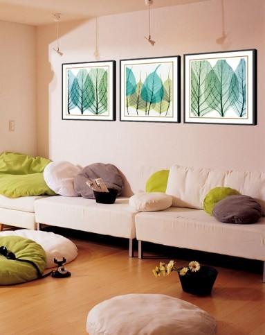 柠檬树家居装饰专场蓝色叶子 现代艺术装饰画wp003jk