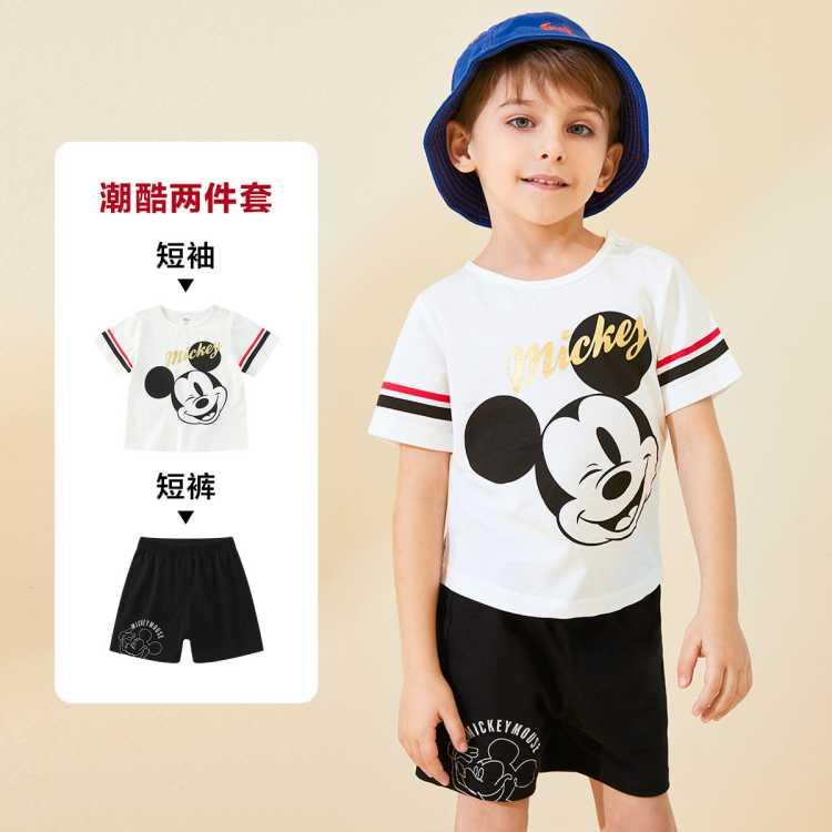 男童纯棉趣味短袖短裤套装款迪士尼婴幼儿童装宝宝套装
