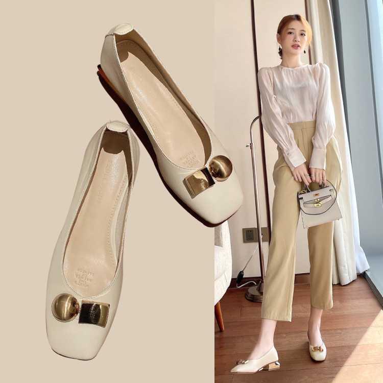 【专柜同款】2021春季新款女单鞋气质粗跟单鞋浅口金属饰扣女鞋子