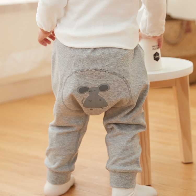 威尔贝鲁 婴儿宝宝棉毛布大屁屁造型裤 儿童秋裤外出pp长裤
