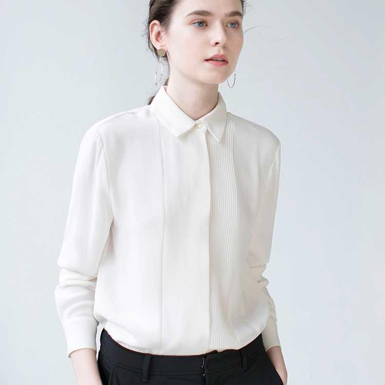 2020年新品三十而已韩版时尚纯色翻领雪纺职业衬衫女