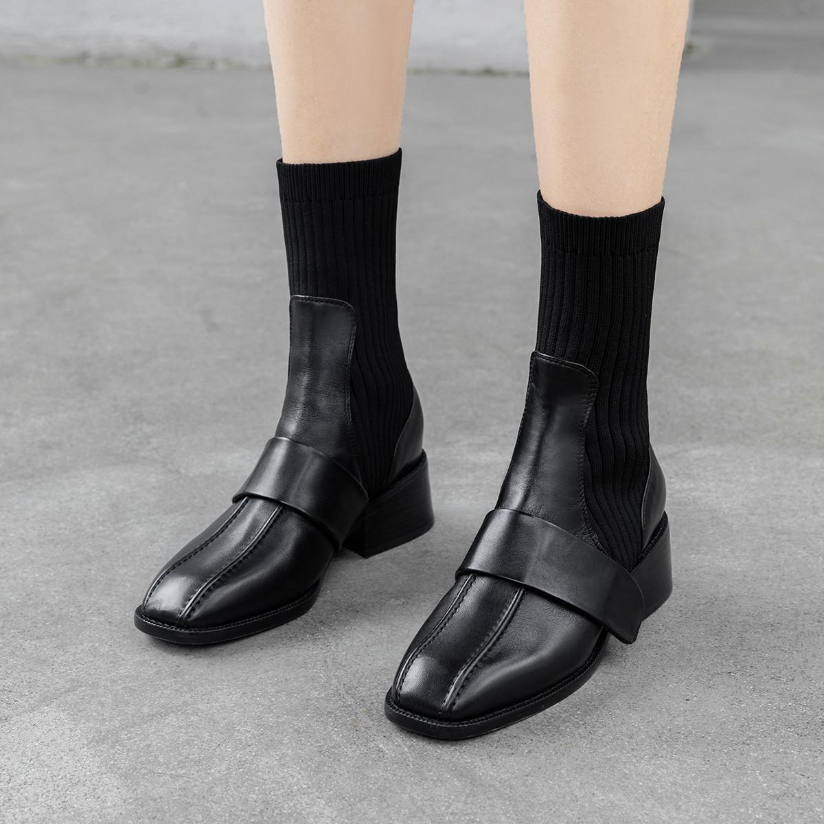 【专柜清仓】艾米娜头层牛皮女短靴弹力靴毛线女靴子短筒休闲靴