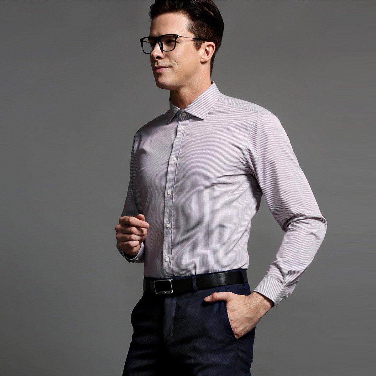 男士正装衬衣图片_报喜鸟男士正装条纹长袖衬衫EBC93061U581_唯品会