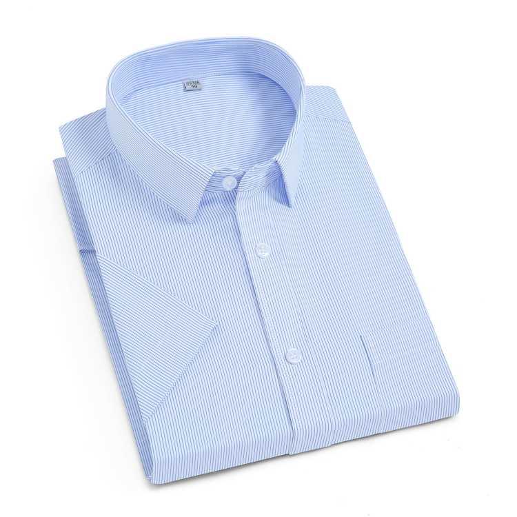 【条纹款】夏季新品男式衬衫纯色百搭短袖男士衬衫男