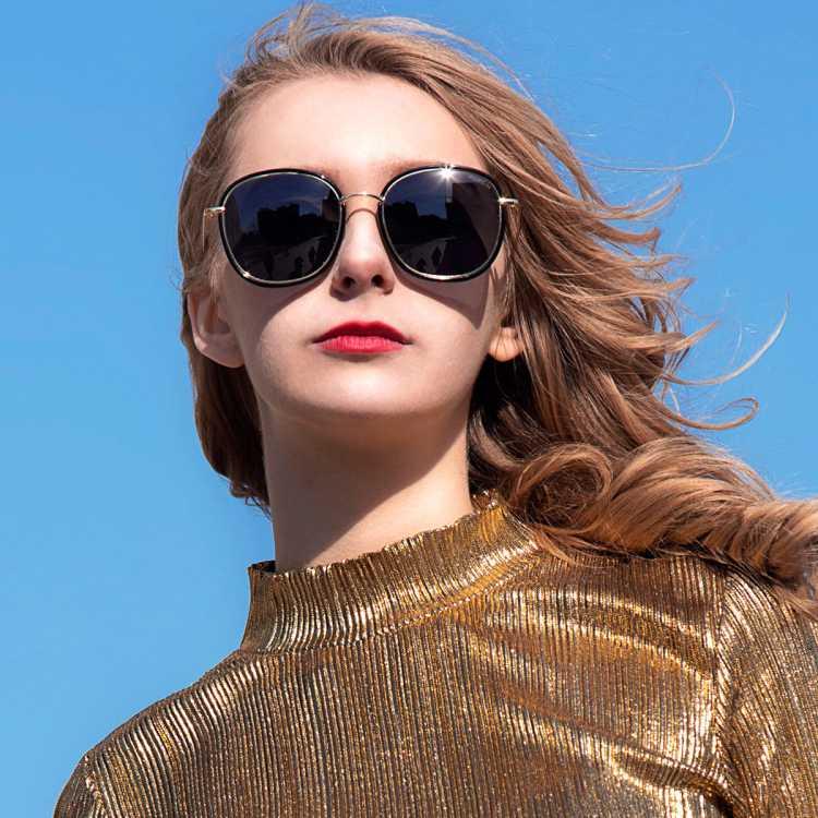 帕森新款偏光太阳镜女 时尚大框彩膜太阳眼镜复古墨镜