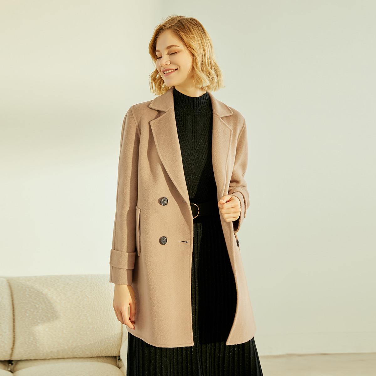 双排扣翻领中长款羊毛双面呢大衣外套
