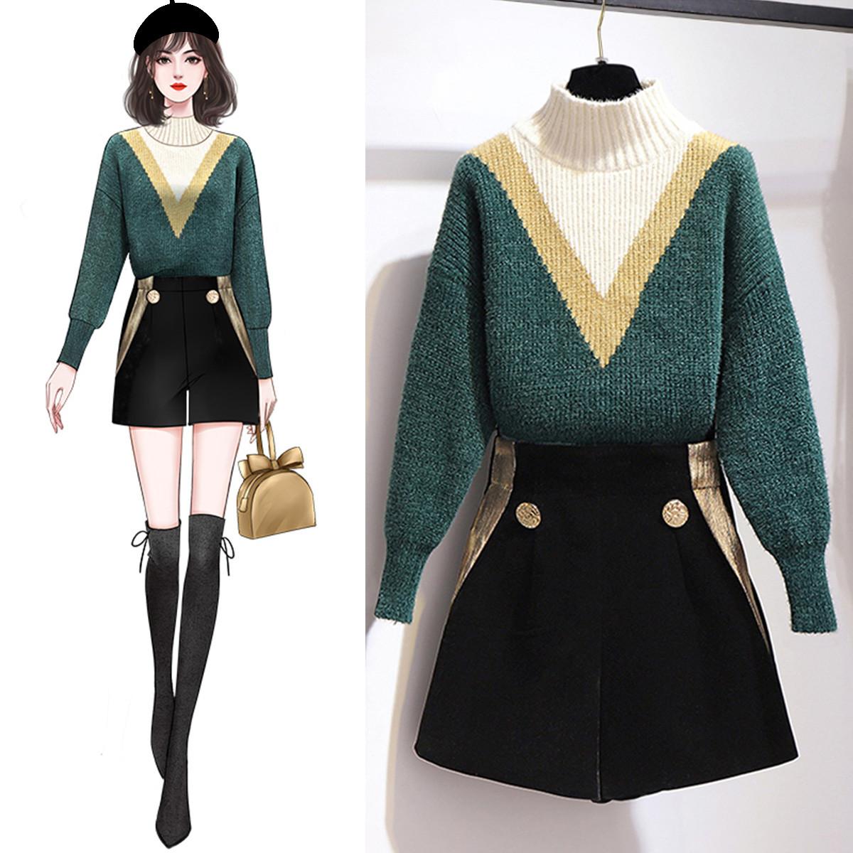 2020冬季气质半高领撞色针织毛衣套装时尚热裤小香风套装女