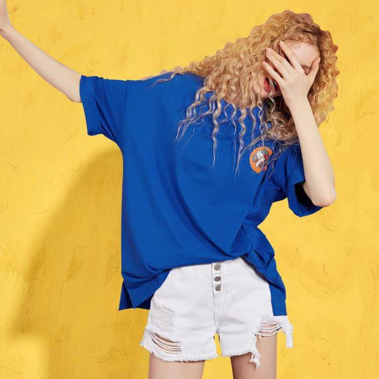 春夏新款二十不惑女式t恤纯棉百搭打底衫宽松简约短袖t恤女