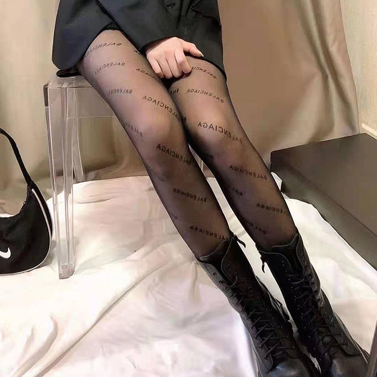 2021新款网红巴黎丝袜女士薄款黑色字母性感任意剪不脱丝连裤袜