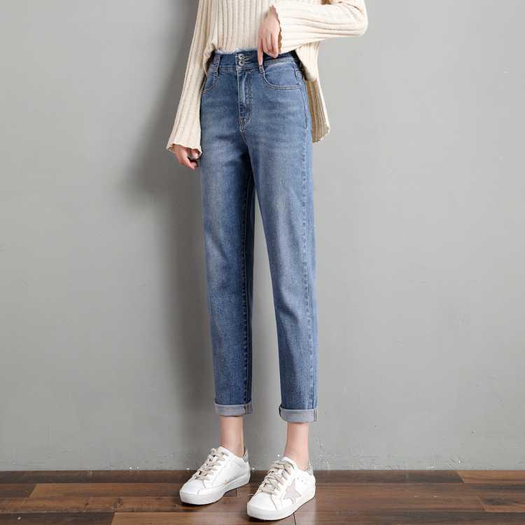 21春季热卖新款韩版薄款裤子姐姐双排扣修身显瘦牛仔裤女
