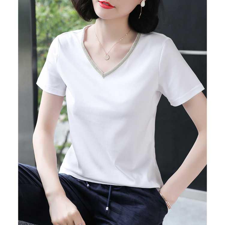 【V领T恤】21夏新款百搭上衣减龄显瘦V领短袖t恤女式t恤
